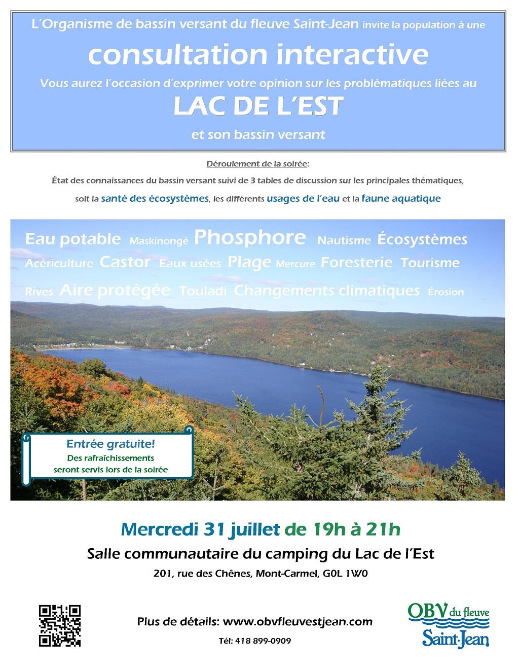 Consultation publique sur l'eau du secteur du Lac de l'Est