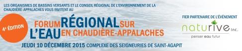 4ème Forum sur l'eau en Chaudière-Appalaches le 10 décembre 2015