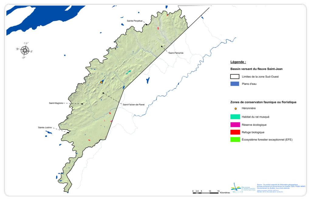 Les milieux biologiques profitant d'un statut de conservation dans la zone Sud-Ouest
