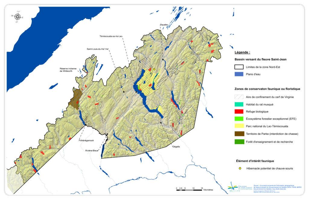 Les milieux biologiques profitant d'un statut de conservation dans la zone Nord-Est