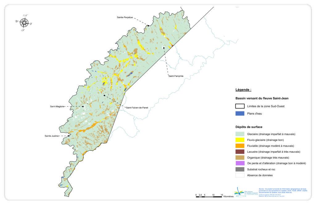 Les dépôts de surface de la zone Sud-Ouest
