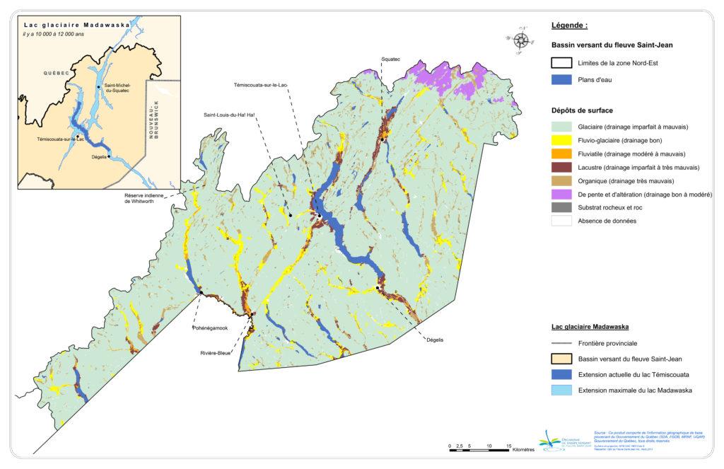 Les dépôts de surface de la zone Nord-Est