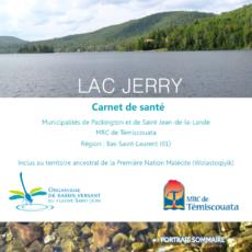 Le Carnet de santé du lac Jerry (Méruimticook) est maintenant disponible!