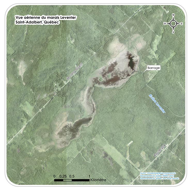 Vue aérienne du marais Léverrier, milieu humide