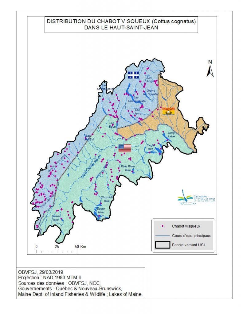 Distribution du chabot visqueux dans le bassin versant du fleuve St-Jean