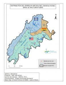 Distribution de l'éperlan arc-en-ciel dans le bassin versant du fleuve St-Jean