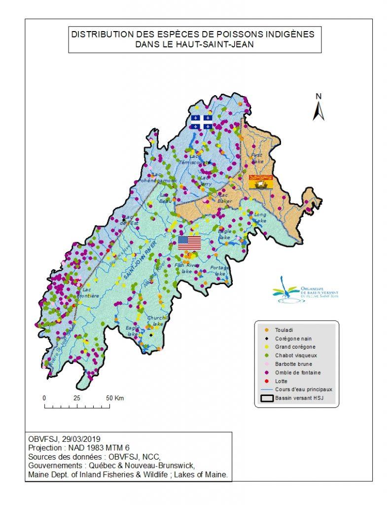 distribution des poissons indigènes au bassin versant du fleuve St-Jean