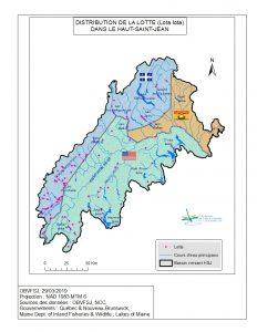 Distribution de la lotte dans le bassin versant du fleuve St-Jean