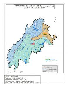Distribution du maskinongédans le bassin versant du fleuve St-Jean