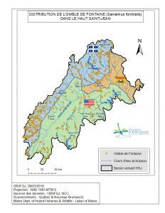 Distribution de l'omble de fontaine dans le bassin versant du fleuve St-Jean
