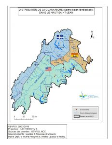 Distribution de la ouananiche dans le bassin versant du fleuve St-Jean