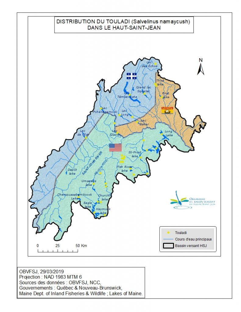 distribution du touladi dans le bassin versant du fleuve St-Jean