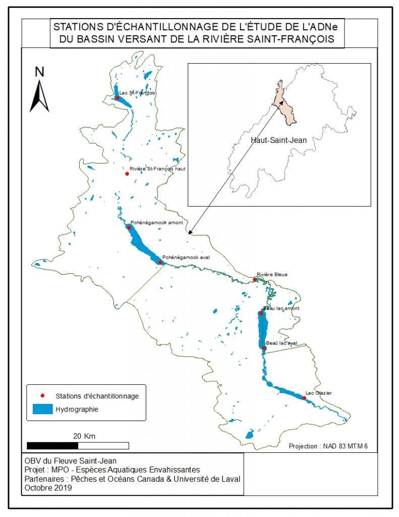 Stations echantillonnage ADNe bassin rivière St-François
